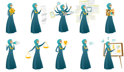 Muslim business woman vector illustrations set.