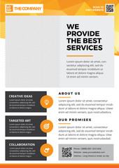 Brochure Template Design, Flyer Background, Booklet, Annual Report Cover, Layout Magazine, Poster, Corporate Profile, Presentation, Portfolio, with orange Geometric in A4 size Vector Illustration 2