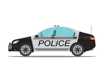 Police car side view isolated on white background.