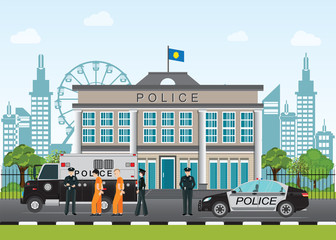 Police station with police officer and police car .