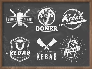 Doner kebab logos. Vector kebab badges with traditional eastern grill dishes on the chalkboard background. Vintage labels for restaurant or bar.