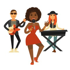 Cool music band performs pop song isolated illustration