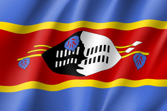 Swaziland flag. National patriotic symbol in official country colors. Illustration of Africa state waving flag. Realistic vector icon