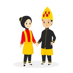 Indonesia - Aceh couple wearing traditional dress, cartoon vector illustration