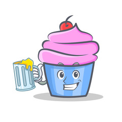 cupcake character cartoon style with juice