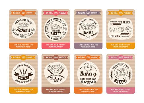 Price cards with different types of bread. Labels for bakery shop. Vector retro illustrations in hand drawn style