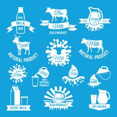Labels set of fresh milk. Vector illustrations for farm logo design