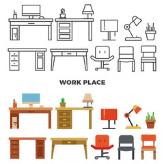 Work place furniture and collection - flat home design icons