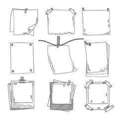 Photo frames and different blank notepaper. Vector set of doodle pictures
