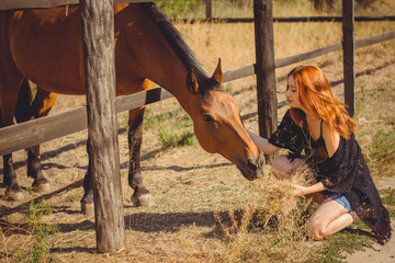 Young beautiful woman with red hair wearing in casual Boho style, with horses on a farm, pets animals in village in a rancho. Horses are human friends