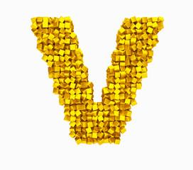 3D design the English alphabet cubes vrashenie, gold.letter V