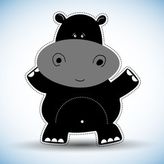 hippo, cartoon, cute, vector, animal, illustration, baby, character, happy