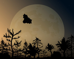 The night sky with glow and moon. A bat flies over the forest.