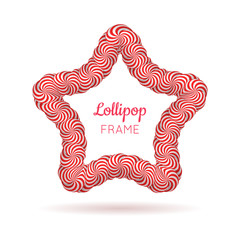 Lollipop star red frame. Professional photo border, showcasing special life events. Realistic mockup vector illustration on white background