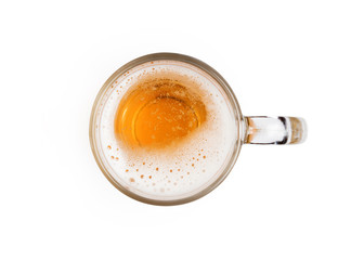 Fotobehang Bier / Cider Mug of beer with bubble on glass isolated on white background top view