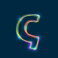 Greek Small Letter Sigma - Vector multicolored outline font with glowing effect isolated on blue background. EPS10