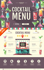 Flat style cocktail bar design. Web site design. Cocktail menu