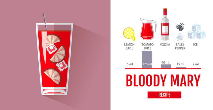 Flat style cocktail menu design. Cocktail bloody mary recipe