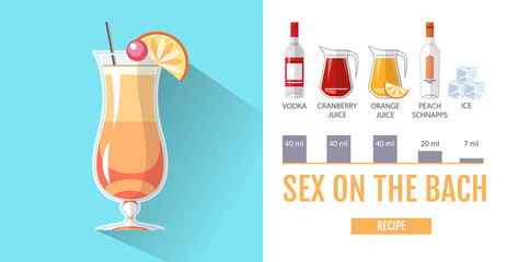 Flat style cocktail menu design. Cocktail sex on the beach recipe
