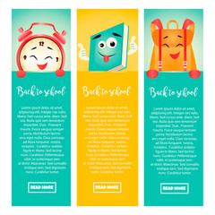 Set of back to school banners with alarm clock, book and backpack