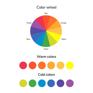 vector illustration, infographics, color wheel, warm and cold co