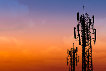 silhouette of communication tower with dusk sky with space for text Wall mural