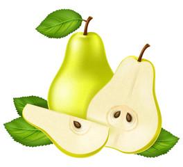 Green pear. Vector illustration.