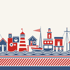 Cartoon Seamless Border in Nautical Style with Coastal Buildings, Boat and Abstract Waves