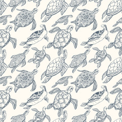 Hand-drawn Seamless Pattern with Floating Sea Turtles