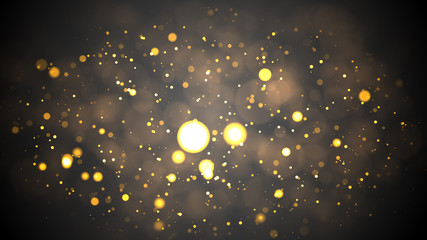 Christmas Background. Golden Holiday Abstract Glitter Defocused Background With Blinking Stars....