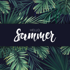 Green summer tropical flyer or banner design with exotic palm leaves and plants. Vector floral background.
