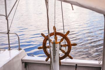 Steering wheel Handwheel ship close up