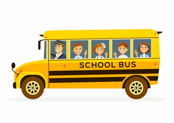 School Bus - characters of happy students in a vehicle