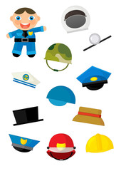 cartoon matching game with finding proper hats to occupation - policeman - illustration for children