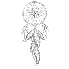 Dreamcatcher Line Art Drawing Feathers Decoration