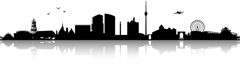Stuttgart Skyline Silhouette schwarz