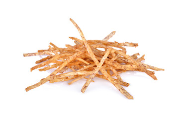 pile of fried taro stick with white sesame on white background