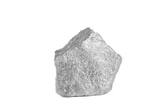 Silver nugget isolated on white background