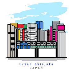 Illustrator of Urban Shinjuku. Vector Illustration