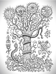 Black and white drawing with mystic and christian religious symbols as snake, tree of knowledge and forbidden fruit. Occult and esoteric vector illustration