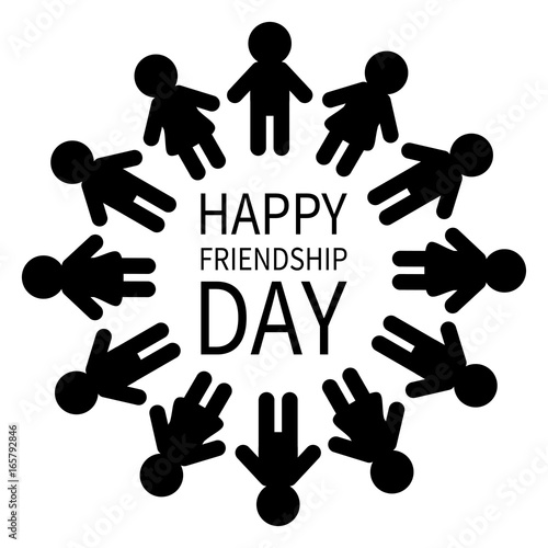 Happy Friendship Day Man And Woman Pictogram Icon Sign People