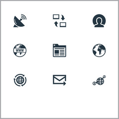 Vector Illustration Set Of Simple Internet Icons. Elements Internet, Sputnik Signal, Member And Other Synonyms Earth, Globe And Contact.