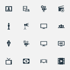 Vector Illustration Set Of Simple Film Icons. Elements Virtual Reality, Reel, Presenter And Other Synonyms Camera, Lcd And Display.