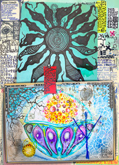 Esoteric and alchemical collage with ethnic, astrological and mysterious designs