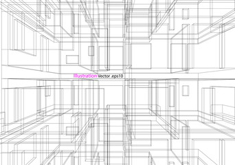building structure architecture abstract drawing, 3d illustration vector