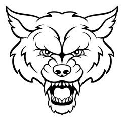 Wolf Sports Mascot Angry Face