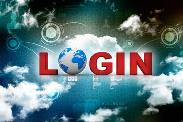 3d login illustration with globe