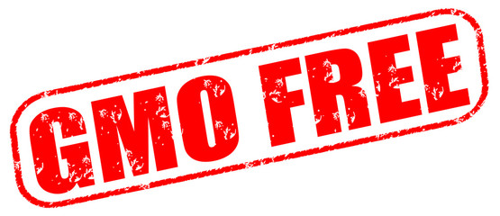 gmo free red stamp on white background.