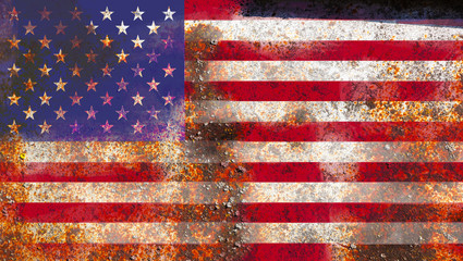 American flag on rusty metal background texture