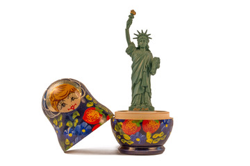 Model of the Statue of Liberty inside a Russian babushka doll